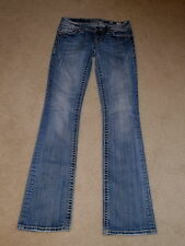 MISS ME DENIM MED 46 STUDDED CRYSTALS LOW RISE BOOTCUT STRETCH JEANS SIZE 26