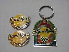3 Hard Rock Cafe Pin Lot Set Florida Jukebox Keyring Keychain Logo Key Ring fan