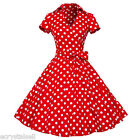 40's 50's Rockabilly Retro Vintage Pinup Swing Prom Polka Dot Party Dresses RED