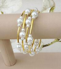 Memory Wire Bracelet Bridal White Gold Faux Pearls Cuff Bride Bridsmaid