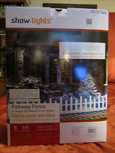 Show Lights 6 Ft Long White Picket Fence Christmas Pathway Marker Automated Lite