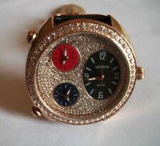 Men's Bling Black/Rose Gold 3 Working Time Zone Fashion Wrist  Watch