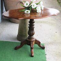 Tavolino tavolo antico da salotto per soggiorno in legno ovale a biscotto 800