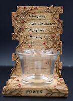 Lefton 2002 Power Positive Thinking Rustic Faux Wood Votive Candle Holder #13900