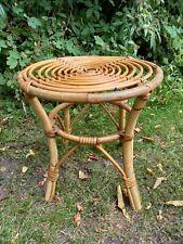 Small Cane Side Table Vintage Retro 70's Boho Tikki Plant Stand