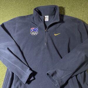 Nike Australian Olympic Team Jacket Mens 2XL Long Sleeve Navy Blue Fleece RARE