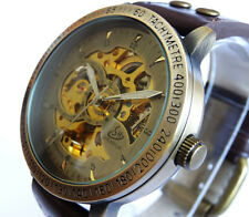 Neat 45mm BRONZE AUTOMATIC Skeleton TACHYMETER Vintage Styled Wrist Watch Brass
