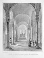 GERMANY Pderborn St. Bartholomew Chapel Interior - 1860 Original Engraving Print