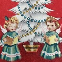 Vintage Early Mid Century Christmas Greeting Card Flocked Cute Girls Angels
