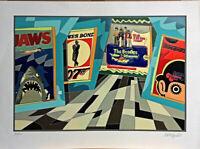 UGO NESPOLO serigrafia + collages Jaws  70x50 firmata numerata