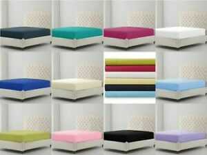 Extra Deep Fitted Sheet Poly Cotton Bed sheet Single Double King Super King