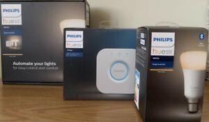Philips Hue Smart Home Bridge, Kit & 2 x Bulb B22 Warm White - you choose