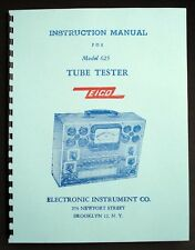 Eico 625 Complete Tube Tester Manual With 1978 Tube Test Data