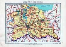 Antique map Utrecht het Gooi traffic Netherlands 1936