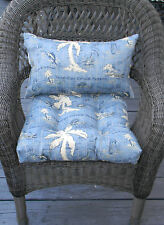 IN / OUT LUMBAR RECTANGLE PILLOW U0026 WICKER CUSHION SET TOMMY BAHAMA BLUE  NAUTICAL