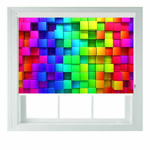 Rainbow Roller Blind Blocks Style Printed black out roller blind various sizes