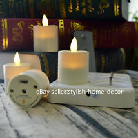 Set of 4 Luminara Rechargeable Tea Light Flameless Led Candles Ivory Unscented