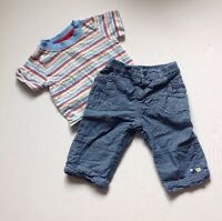 MotherCare & TU Baby Boy Short Sleeve T-shirt & Blue Bottoms Outfit 3-6 Months