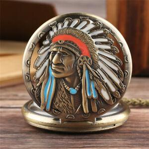 Antique Native American Unisex Analog Quartz Pocket Watches Necklace Chain Gift