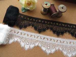 3mt of lace trim, with eyelash edge scallop 9cm black or off white