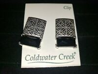 COLDWATER CREEK SILVERTONE CLIP ON COLORED BLACK NON PIERCED EARRINGS NEW