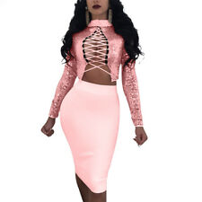 New Women Bandage Lace UP Hollow Out Sexy Turtleneck Sequined 2 Piece Top+Skirt