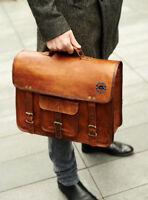 Men's Leather Messenger Shoulder Bags Business Work Briefcase Laptop Bag Vintage