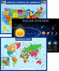 World Map Poster, United States USA Map, Solar System Posters for Kids - Laminat