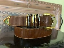 Simon Genuine Brown Leather Belt  Gold & Silver Tone Buckle Size Large