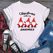 Girls Cotton T Shirt Christmas with My GNOMIES Printed Round Neck Cute Blouse