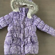 Oshkosh Winter Puffer Jacket Purple White Girls Size 6X Coat Removable Hood