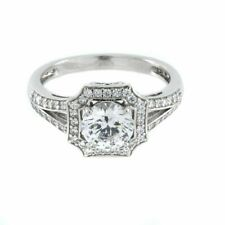 Simulated Diamond Vintage Halo Ring 14K Yellow Gold Over Sterling Silver