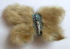 broche ancien bijou vintage fourrure vison papillon cristaux aigue marine  5005