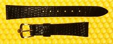 13mm Vintage OMEGA Real-Lizard Leather Watch Strap Band BLACK <NWoT>