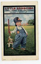 """Child Policeman """"Little Breeches"""" Antique Billy Club—Dog Puppy BERNHARDT WALL"""