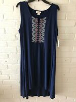 New Style & Co Woman's Embroidered Sleeveless Swing Dress Plus Size Blue  L25