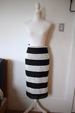 Lover the Label by Susien Chong: Womens Black/White Striped Skirt, Size 10 (NEW)