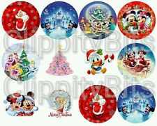 """50 x 1"""" Inch Pre Cut Bottle Cap Images Christmas Xmas Characters Pictures bows"""
