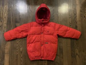 Vintage POLO RALPH LAUREN Red Hooded Down Puffer Coat Boys Youth Size 6
