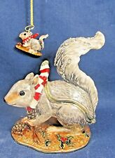 Squirrel w necklace Enamel Jeweled Pewter Trinket Box Wildlife Home Decor