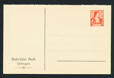 (40033) SWITZERLAND - Michel PP 1, private postal stationery, FA Gebruder Roth