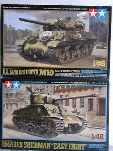 Tamiya 1:48 American Tanks. M10 tank destroyer (Diecast Hull) + Sherman M4A3E8