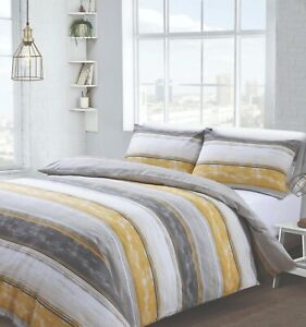 BROOKLYN STRIPE Duvet Cover Set Quilt Cover Single Double King Bedset OCHRE GREY