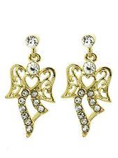 Angel Earrings-Pave Jewelry-Filigree Metal-Angel Wings-Heart-One Inch Drop-Gift