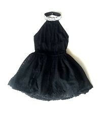 BLACK LACE EMBELLISHED HALTER NECK FIT-N-FLARE CRONOLINA PROM DRESS L 12 14