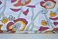 5 Yard Floral Print Indian Dress 100% Cotton Hand Block Sewing Craft Sewing