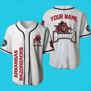 Arkansas Razorbacks Baseball Jersey White Shirt Customize Name Men Women S-3XL