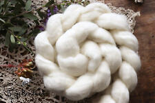 AMERICAN RAMBOUILLET Wool Roving Undyed Ecru Combed Top Spinning Felting - 4 oz