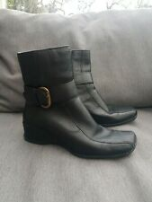 🔥🔥 CLARKS Black Leather Low Wedge Ankle Boots Uk5