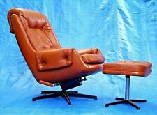 1970s legendary PeeM leather lounge chair & ottoman made in Finland